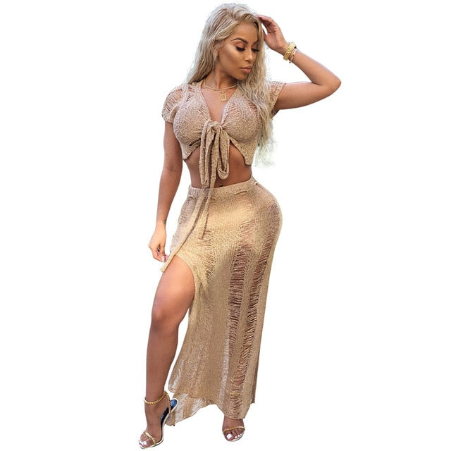 af8b045cc4 Women Summer Beach Golden Maxi Dress 2 Piece Set Women Party Hollow Out  Bodycon Bow Tie. Hover to zoom