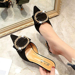 Women Summer High Heels Mules Slippers Ladies Pointed Toe Strange Style Crystal Outside Shoes Woman Fashion Footwear E798