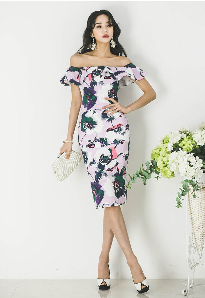 26f83d414d4 Hover to zoom. PrevNext. Image of Women Summer Off Shoulder Dress 2018  Korean Sexy Ruffled Collar ...