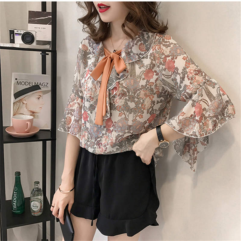 b6f11e0d795 ... Women Summer Style Flower Printed Chiffon Blouses Shirts Girls Half  Flare Sleeve Floral Bow Tie decor ...
