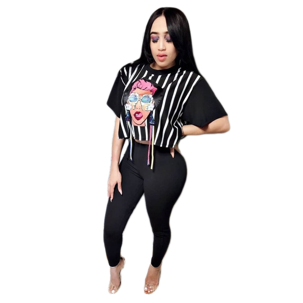 10f2cee56647c Women Tracksuit Leggings Two Piece Sets Fitness Clothing Sporting Suits  Cartoon Print Short Sleeve Crop Top. Hover to zoom
