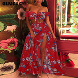 Women Two Piece Matching Sets Floral Printed Off Shoulder Top & High Waist Slit Skirts Bohemian 2piece Set