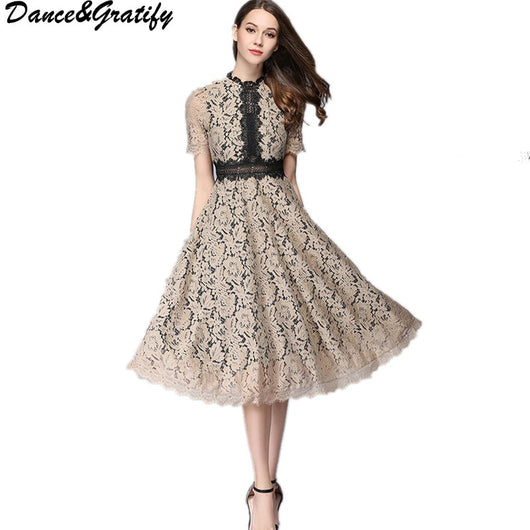 Women Vintage Brand Designer Lace Runway Dress 2017 New Summer Female Casual Hollow Out Party Dresses Vestido