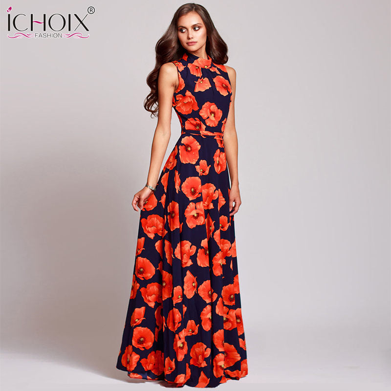 baeeaa85d8d Women Vintage Evening Party long Dress Summer Plus Size Floral Print Maxi  Dresses New Fashion Boho. Hover to zoom