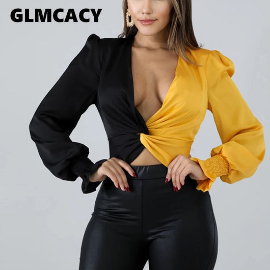Women Vintage Twisted Blouse V-neck Long Sleeve Pullover Shirt Sexy Flare Sleeve Autumn Spring Color Block Tops Blusa