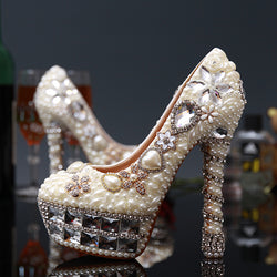 Women Wedding Pearl Shoes Crystal Pumps Round Toe Sexy Bride Super High Heels Female Beige Rhinestone Party Shoes Big Size 43
