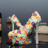 Women Wedding Shoes Colorful Lace Flowers Crystal Bridal Evening Party High Heel Round Toe Shoes Sexy Woman Pumps Bridal Shoes
