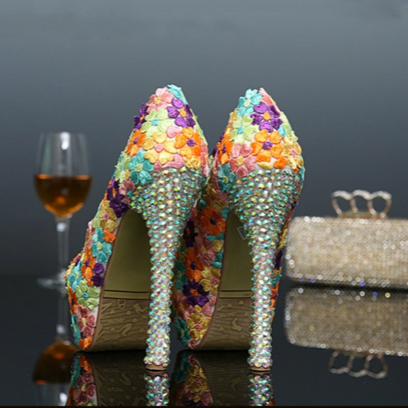 ... Women Wedding Shoes Colorful Lace Flowers Crystal Bridal Evening Party  High Heel Round Toe Shoes Sexy ... 0d028a21e086