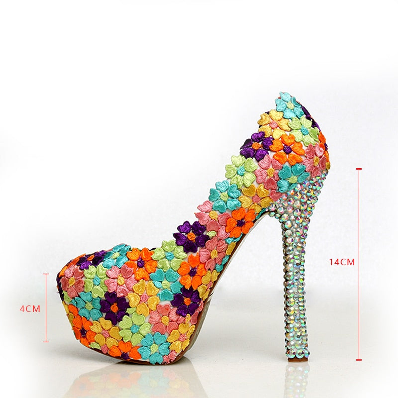 001f6a87934 Women Wedding Shoes Colorful Lace Flowers Crystal Bridal Evening Party High  Heel Round Toe Shoes Sexy Woman Pumps Bridal Shoes