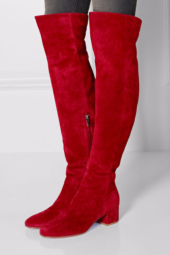 4496f6c257cd ... Over The Knee Boots Round Toe Thick Heels Tight High. Hover to zoom