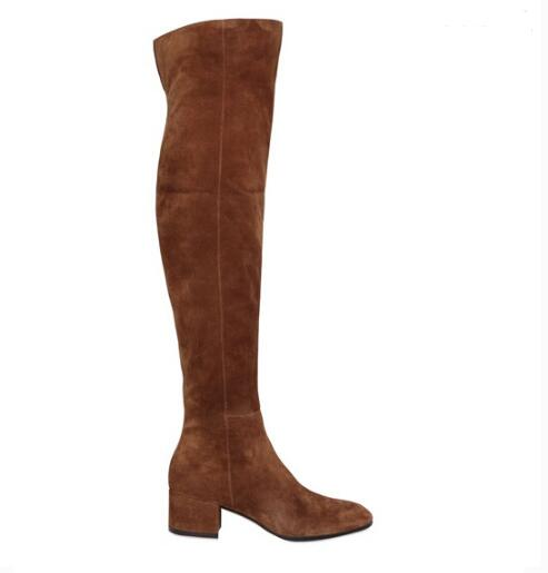 460c7ea6a36 ... Women Winter Flat Boots Red Suede Over The Knee Boots Round Toe Thick  Heels Tight High ...