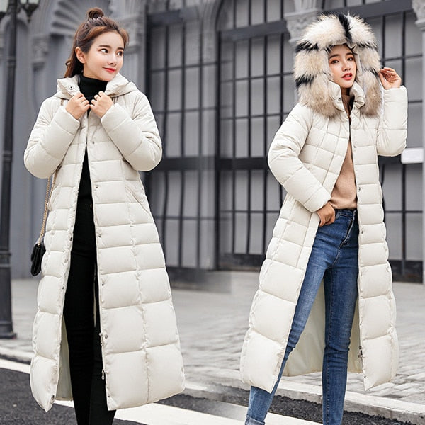Women Winter Jackets And Coats 2018 Casual X-Long Big Fur Collar Down Coat  Female Thick Warm Hooded Parkas Puffer Wadded Jacket