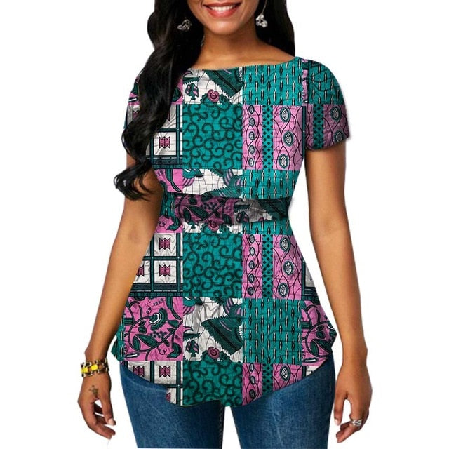 b2fafffea3 ... Women dashiki tops festival Ankara outfit design short sleeve African  print shirts for party wedding ...