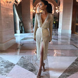 Rose Women hollow out wrap dress Sexy v neck knitted party dress -5272