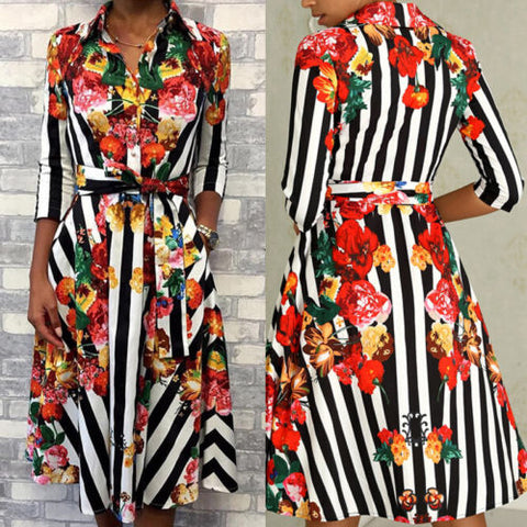 677ac92f3bfd3 Women's Autumn Boho Floral Stripe Maxi Dress Party Casual Long Sleeve  Floral Dresses Female Bandage Hot Dress Summer Clothing