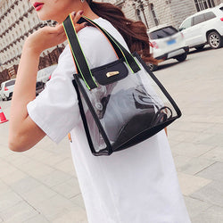 Women's Fashion Transparent Beach Bag Shoulder Bag Handbag+Drawstring Pocket MAY24