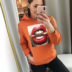 Women's Hoodies Big Red Lip Pullover Jumper Hoodie Long Sleeve Lady Boss Bullet Big Mouth Loose Hooded Funny Sweatshirt Casual