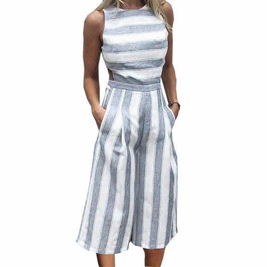 FirH Womens Wide-Leg Stripe Playsuit Multi Color Rompers V Neck Long Sleeve Jumpsuits Plus Size Casual Dress