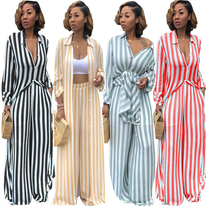 32022f09 Women's Two Piece Sets Leisure Trouser Suits Long Shirt Top and Wide Leg  Pants Set Autumn Matching Sets Outfit Tracksuit Women