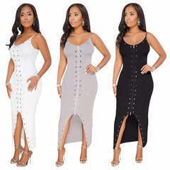 Women summer dress strap sexy bodycon bandage dress solid straight sexy  club party wear Q099 ... 8d7f73849