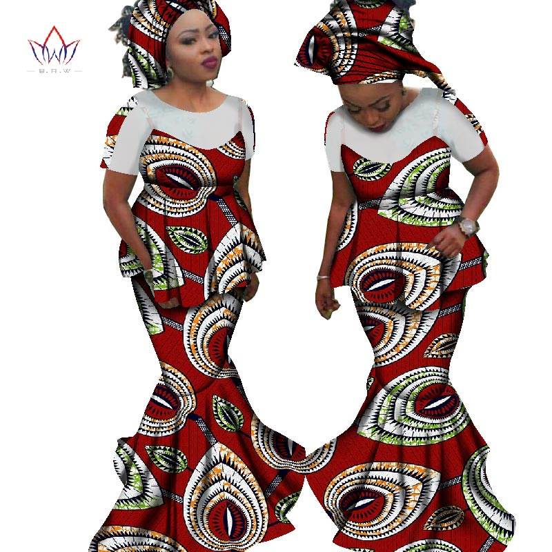 c0062d2c9f347 Womens 2 Piece Outfit Sets Summer 2018 New Style Bazin Elegant Women Sets  Dashiki Headtie Traditional African Clothing WY1849