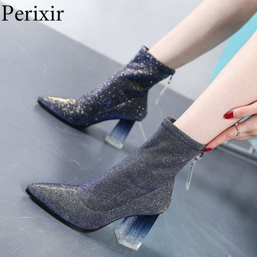 Womens Boots Fashion Shoes 2019 Sequin New Women Shoes Bling Ankle Boots for Ladies Crystal Square Heel Zipper Pointy Toe Shoes