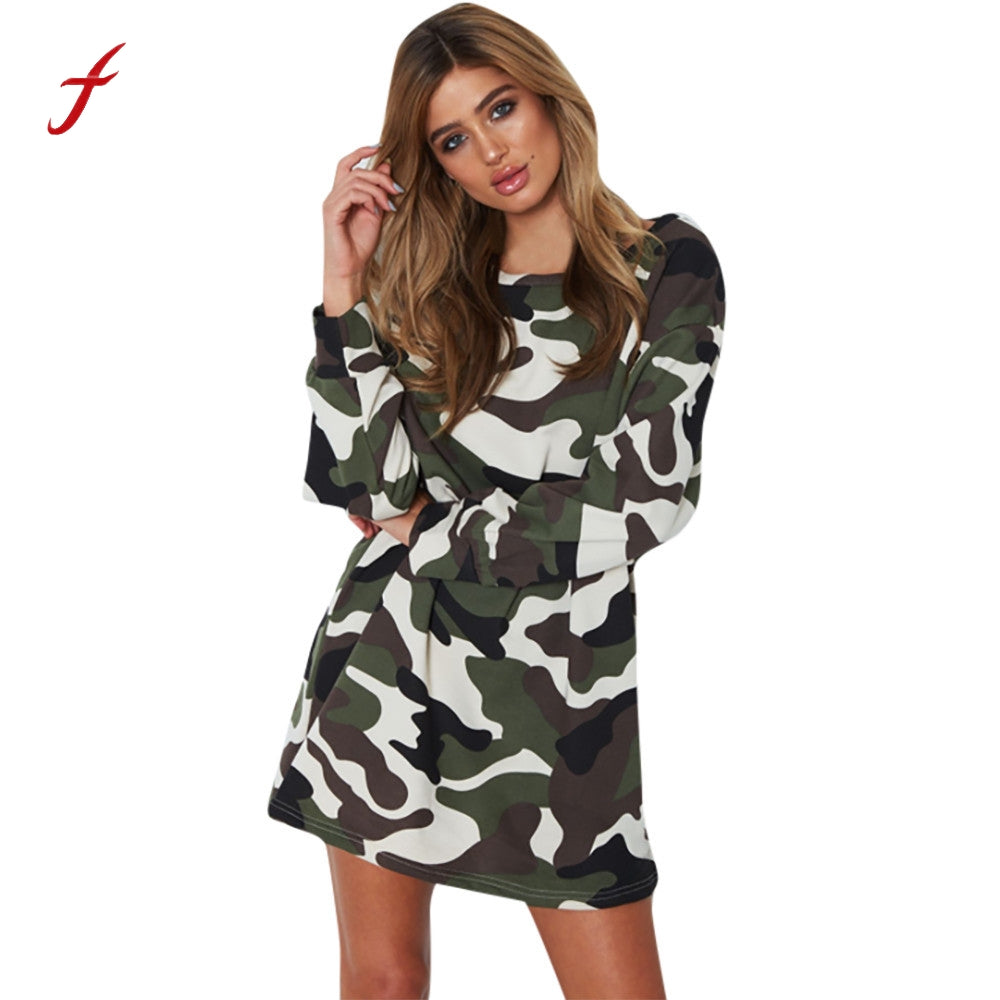 74dcf175edf6a Womens Camouflage Dress 2018 Spring Long Sleeve O-Neck Mini Dress Women  High Quality Ukraine. Hover to zoom · Womens Camouflage Dress ...