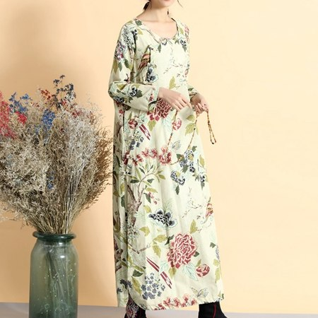 b9164d4687 ... Image of Womens Floral Maxi Dresses Cotton Linen Robe Longue Femme  Chinese Frog Button Decoration Big