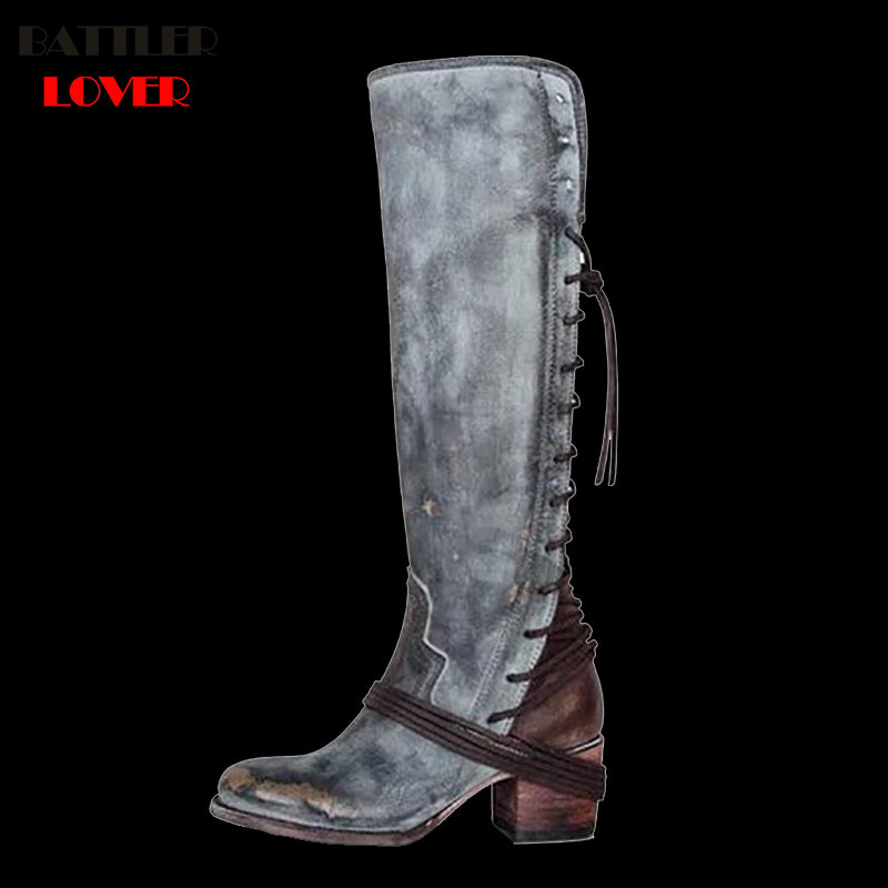 top-rated quality clearance sale retailer Womens Sexy Platform Western Knee High Moto Boots Women Pointed Toe Shoes  Slip on Solid Color Biker Boots Shoes Plus Size 35-43