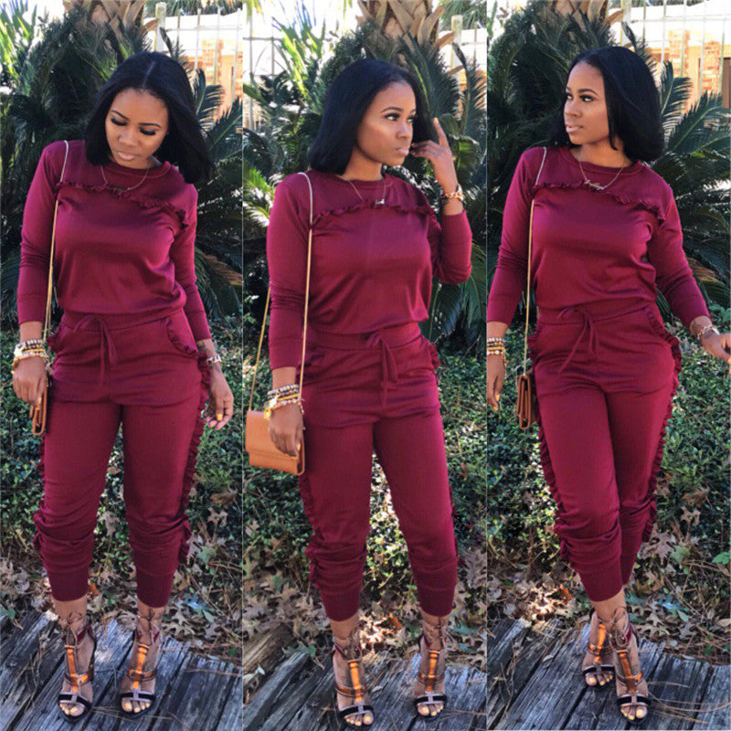 Womens Tracksuits Winter Suit Long Sleeve Two Piece Sets Ruffle Top