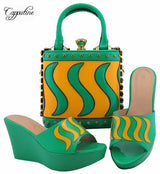 Wonderful water green with yellow wedge heel sandal shoes and handbag set nice matching for party dress MD005