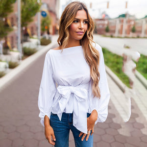 2a8416d8ad9c98 Wrap Blouse Women Shirts Spring Fashion Lantern Long Sleeve Blouses With  Bow Belt Loose Casual Tops ...