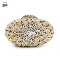 XIYUAN BRAND Flower Crystal Evening Bag Floral Purse And Handbags For Women Rhinestone Crystal Clutch Bag for party wedding