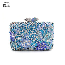 XIYUAN BRAND clip holder money phone holder Banquet Handbag Day Clutch Female Crystal Box Wedding Bridal Handbags with Chain