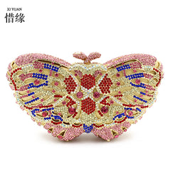 XIYUAN BRAND high quality colorful beaded sparkle crystal diamond Hasp evening bag Clutches bags For Women Metal clutch Handbags