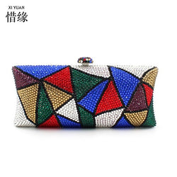 XIYUAN BRAND women  luxury colorful geometry  Austrian full Diamond evening shoulder bag female hand bag cross body bags