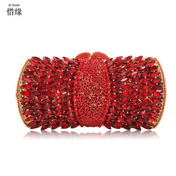 XIYUAN BRANd FEMALE Evening Bags RED Women Clutch Bags Evening Clutch Bags Wedding Bridal Handbag Bridesmaids Rhinestone Bags