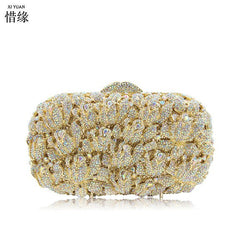 XIYUAN GOLD Diamond Crystal Women Evening Cocktail Party Clutches Bags Wedding Dress Gold Handbag Purse Bridal Metal Cluth bag