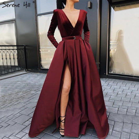 XUANDREAM  Simple evening gown elegant long sleeves sexy high slit puffy skirt formal evening dresses for party fast shipping
