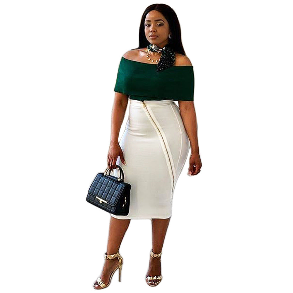 d56fdd2a0 XXL Fashion two piece women set 2018 off the Shoulder slash neck top ...