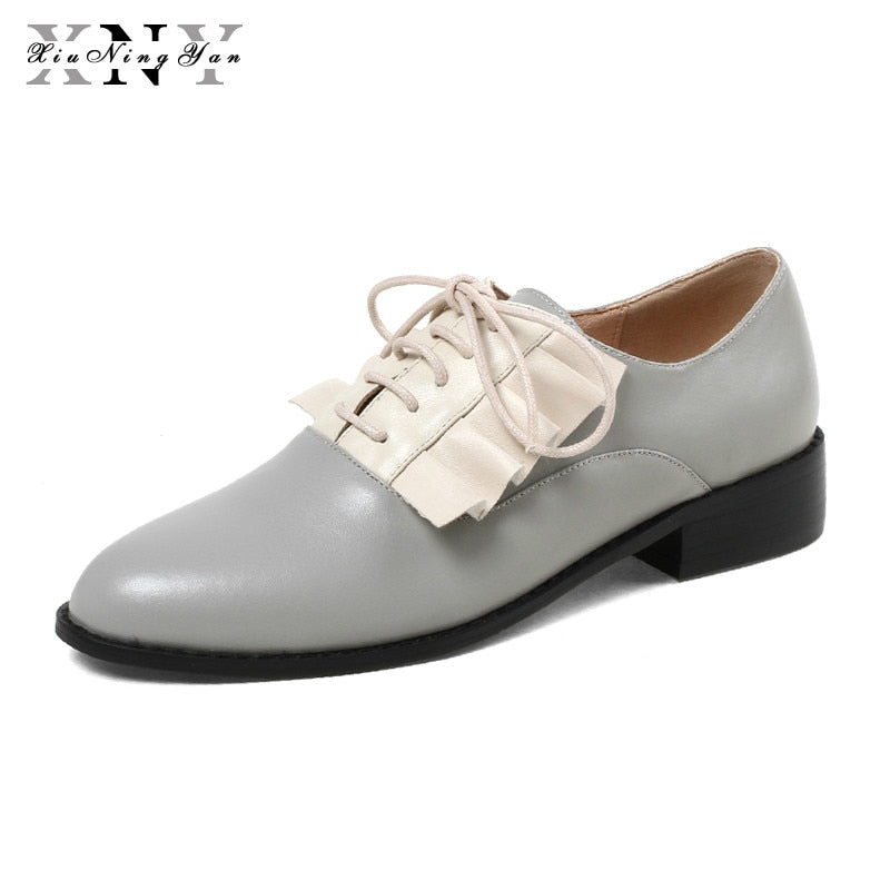 f6671a2e650fc XiuNingYan Women Basic Flats Genuine Leather Lace-up Tassel Fringe Handmade  Shoes Large Size Footwear Casual Boat Shoes Woman