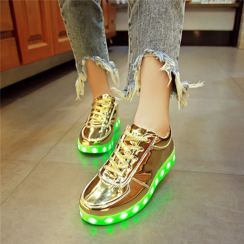 YPYUNA Trend Red white luminous shoes boys girl led lighted sneakers usb charging glowing sneakers child fashion shiny led shoe