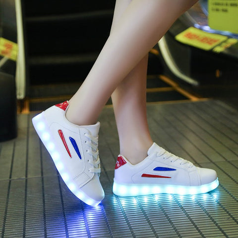YPYUNA Trend Red white luminous shoes boys girl led lighted sneakers usb charging glowing sneakers child fashion shiny led shoe 1 2