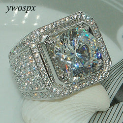 YWOSPX Luxury Full Crystal Big Stone AAA Cubic Zirconia Rings For Men And Women Male Metal Plated Zircon Ring SZ 6-13 Y40