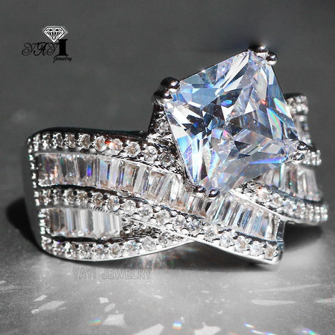 YaYI Jewelry Fashion  Princess Cut 4.1  CT White Zircon Silver Color Engagement Rings wedding Rings Party Rings 641