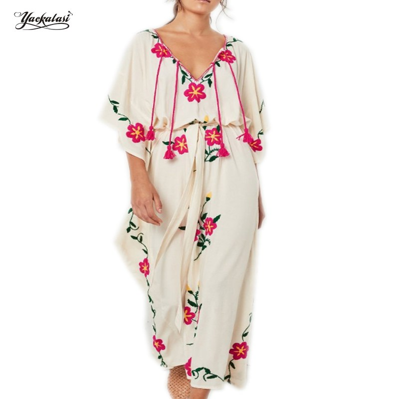 b2e72ff97d6a Yackalasi new Bohemian Women Half Vintage Ethnic Flower Embroidered Cotton  Tunic Casual Long Dress Hippie Boho. Hover to zoom