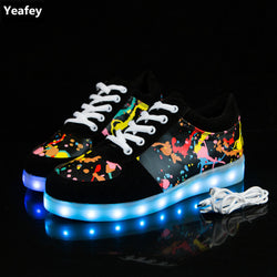 Yeafey Luminous Sneakers Krasovki Children Led Luminous Girls Shoes for Kids Glowing USB Light Up Womens Mens Fashion Sneakers