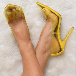 Yellow Clear PVC Transparent Heels Pointy Toe Stiletto Heels Pumps Slip-on Wedding Shoes Bride Customized High Heel Women Shoes