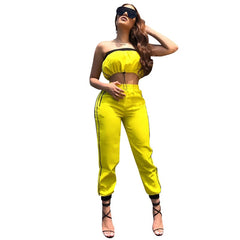 Yellow Two Piece Set Women Tracksuit Drawstring Strapless Crop Top and Side Striped Pants Suit Sexy Two Piece Outfits for Women