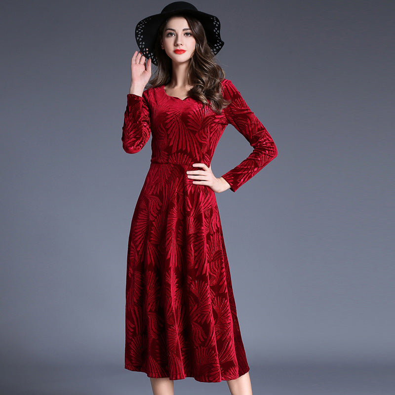 ... Yifsion Autumn Elegant Retro velvet Red Dress Long sleeves O-Neck  Vintage high-end 63f05a43fa88
